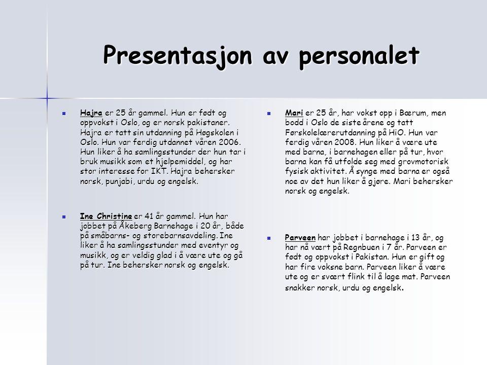 Presentasjon av personalet
