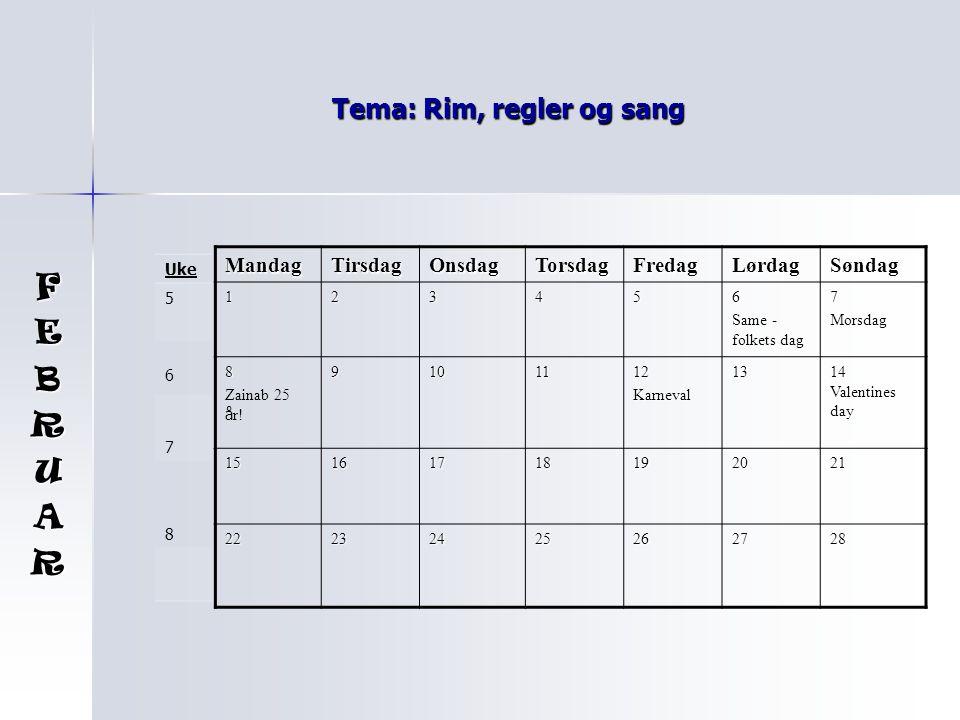 Tema: Rim, regler og sang