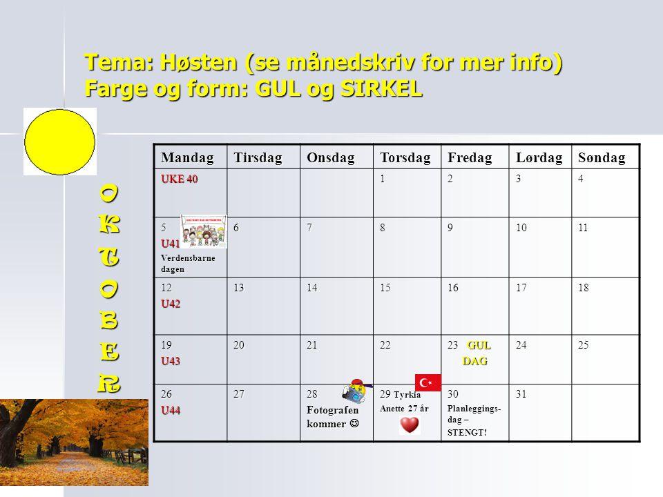 Tema: Høsten (se månedskriv for mer info) Farge og form: GUL og SIRKEL