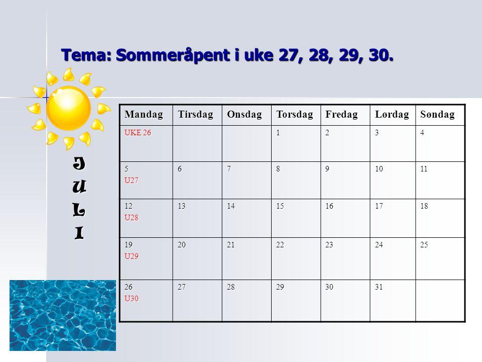 Tema: Sommeråpent i uke 27, 28, 29, 30.