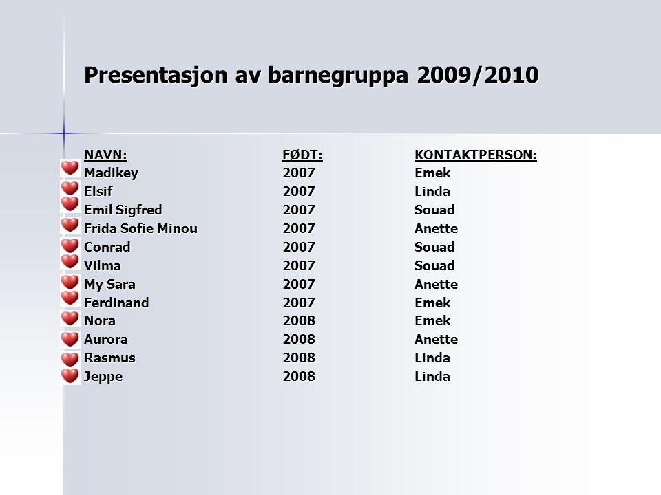 Presentasjon av barnegruppa 2009/2010