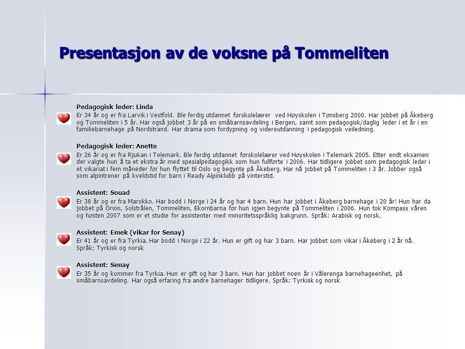Presentasjon av de voksne på Tommeliten