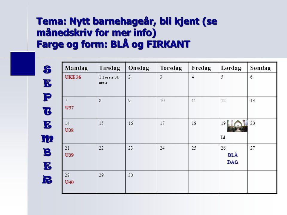 Tema: Nytt barnehageår, bli kjent (se månedskriv for mer info) Farge og form: BLÅ og FIRKANT