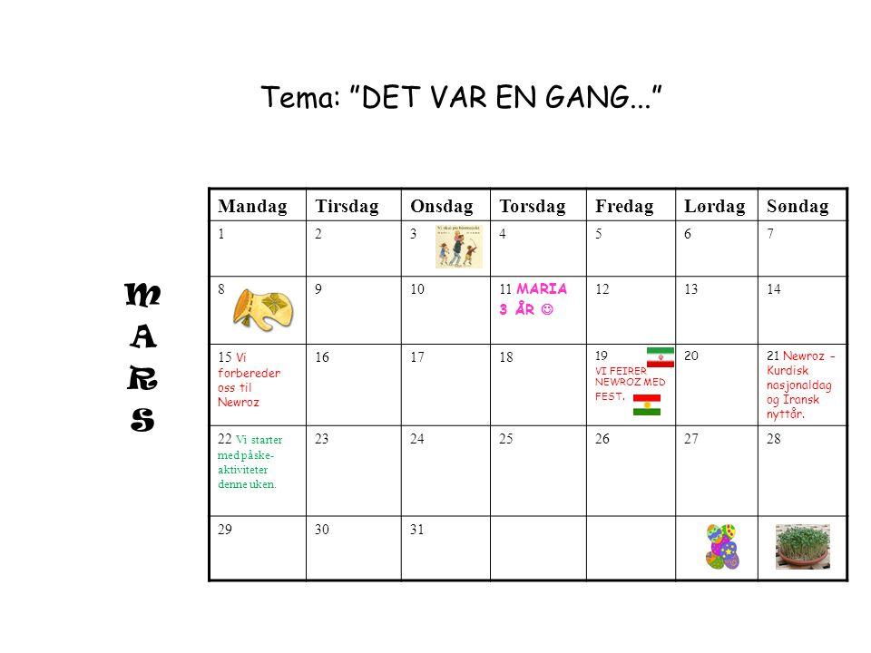 Tema: DET VAR EN GANG... M A R S Mandag Tirsdag Onsdag Torsdag