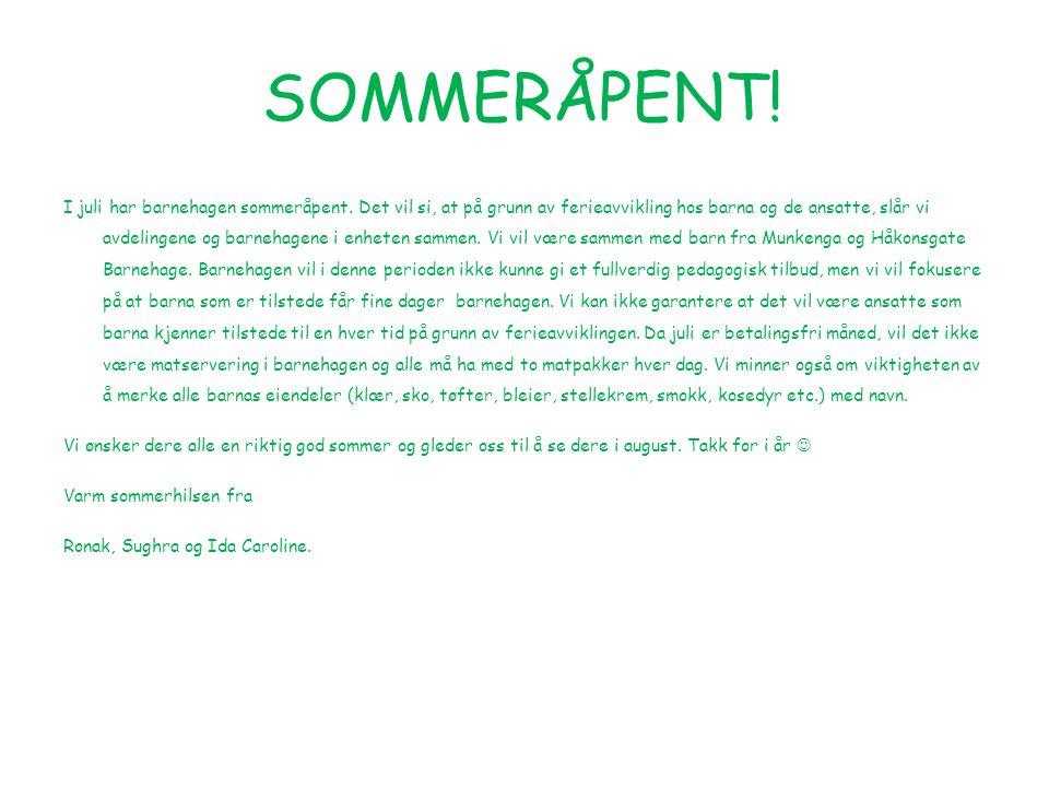 SOMMERÅPENT!