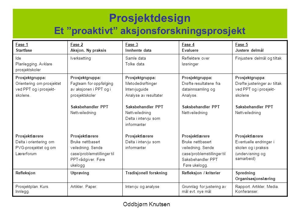 Prosjektdesign Et proaktivt aksjonsforskningsprosjekt