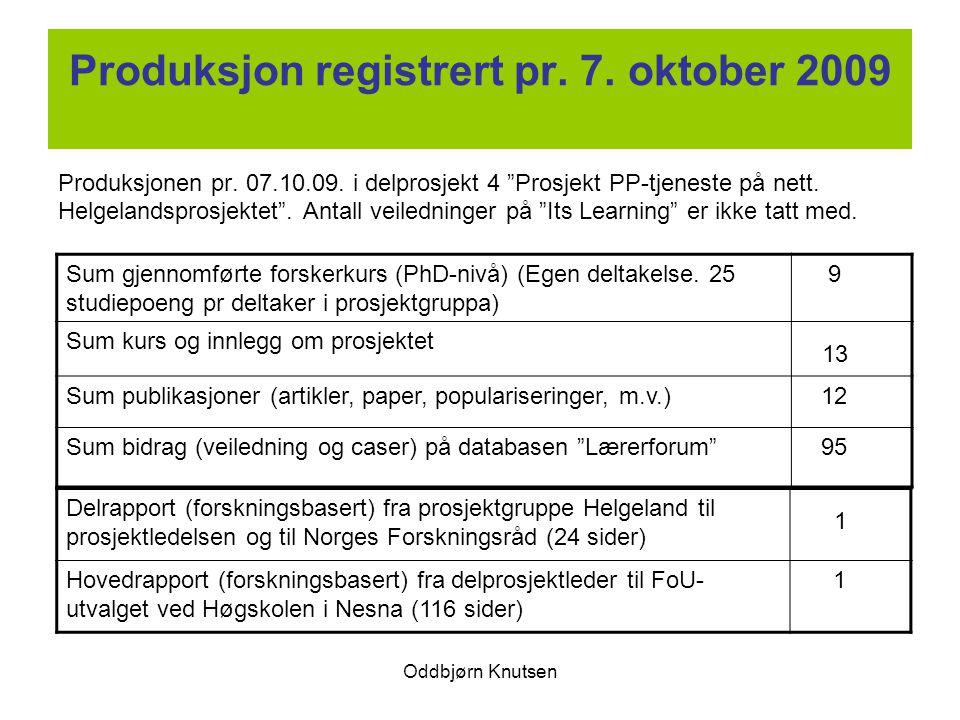 Produksjon registrert pr. 7. oktober 2009
