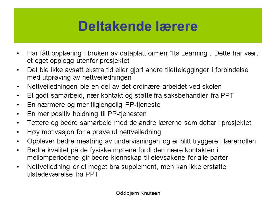 Deltakende lærere Har fått opplæring i bruken av dataplattformen Its Learning . Dette har vært et eget opplegg utenfor prosjektet.