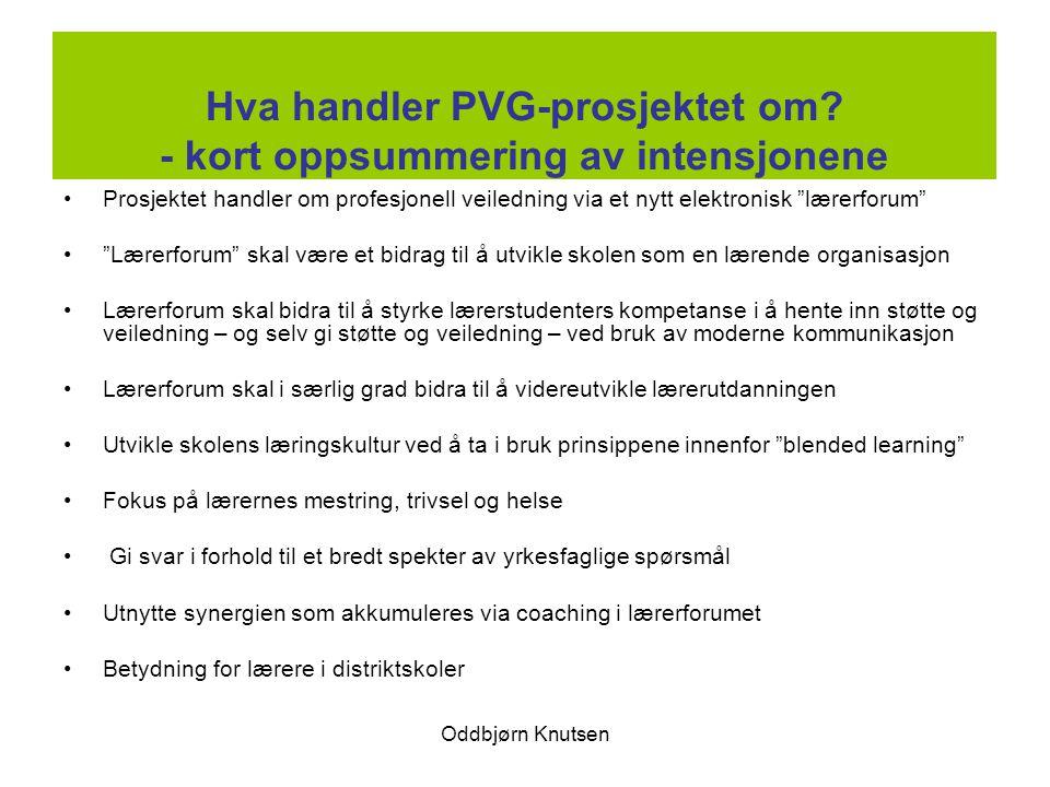 Hva handler PVG-prosjektet om - kort oppsummering av intensjonene