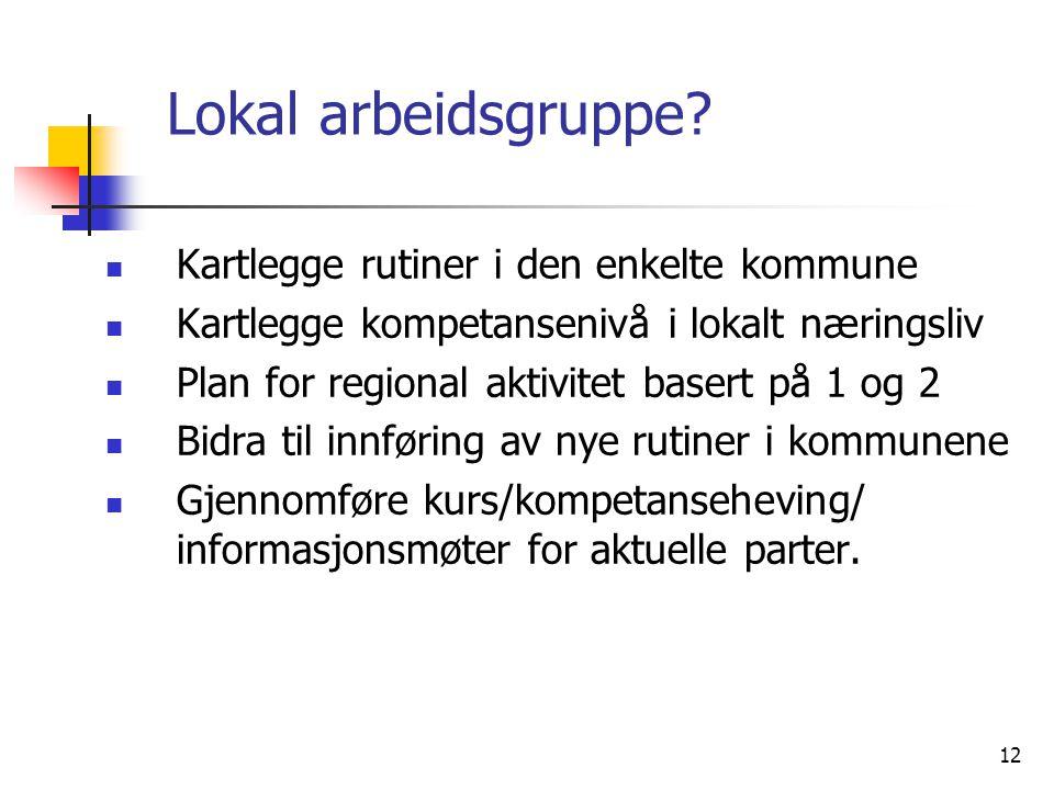 Lokal arbeidsgruppe Kartlegge rutiner i den enkelte kommune