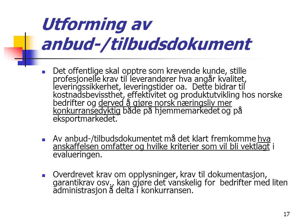 Utforming av anbud‑/tilbudsdokument