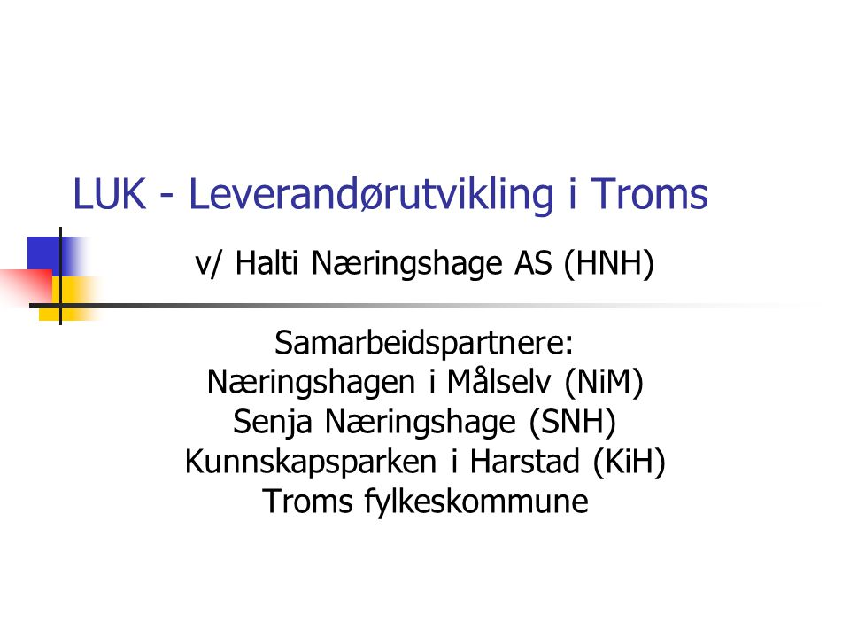 LUK - Leverandørutvikling i Troms
