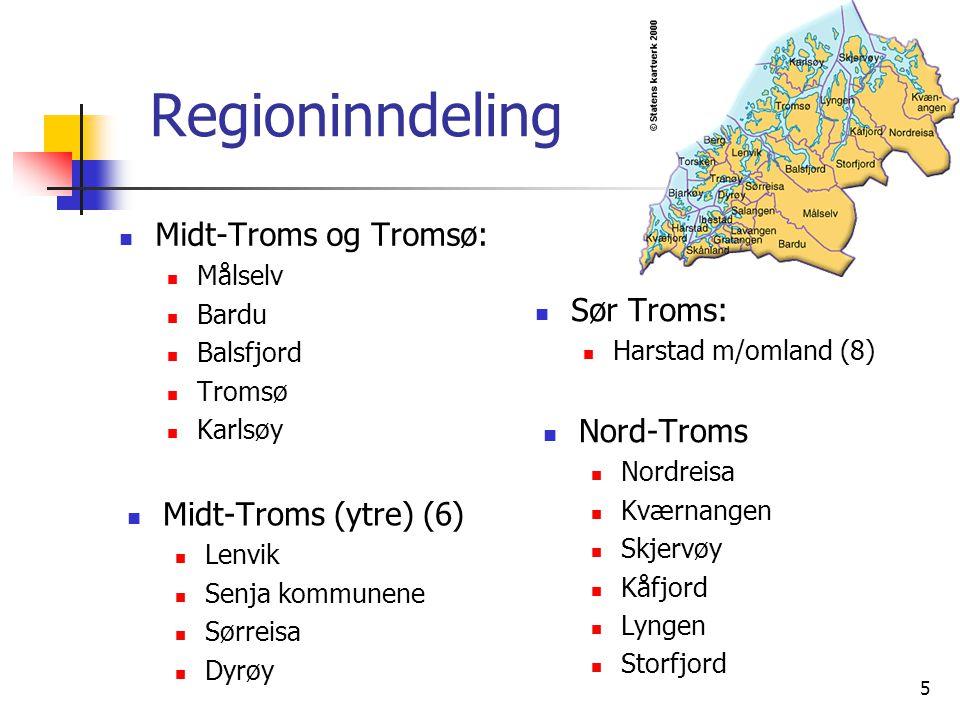 Regioninndeling Midt-Troms og Tromsø: Sør Troms: Nord-Troms