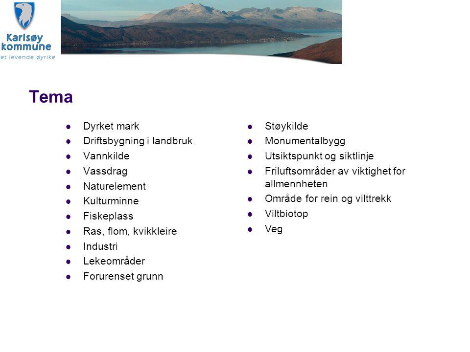 Tema Dyrket mark Driftsbygning i landbruk Vannkilde Vassdrag