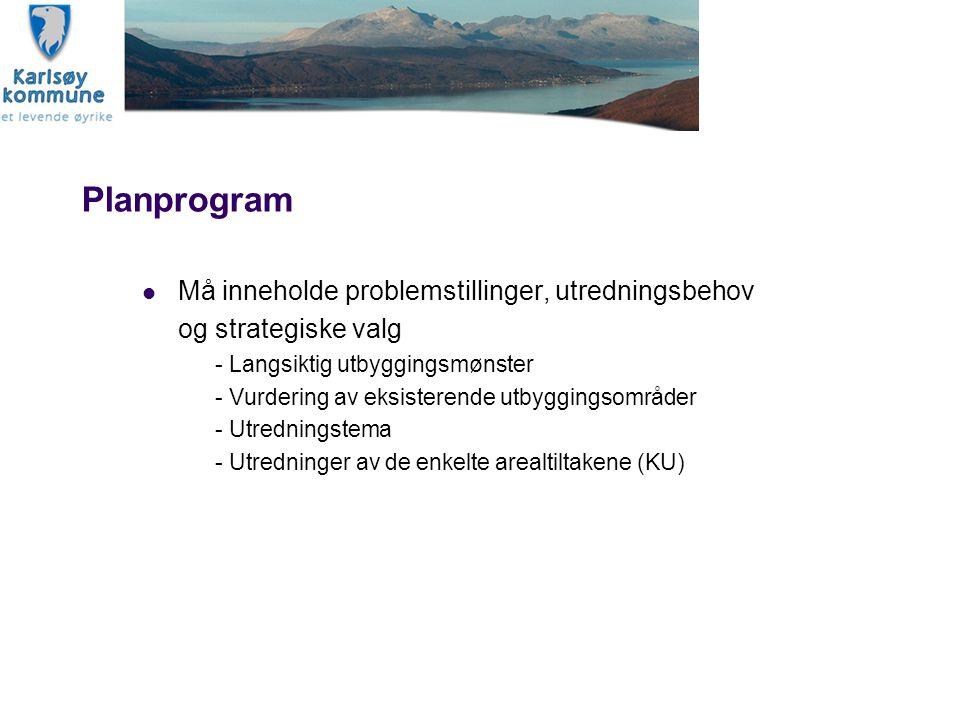 Planprogram Må inneholde problemstillinger, utredningsbehov