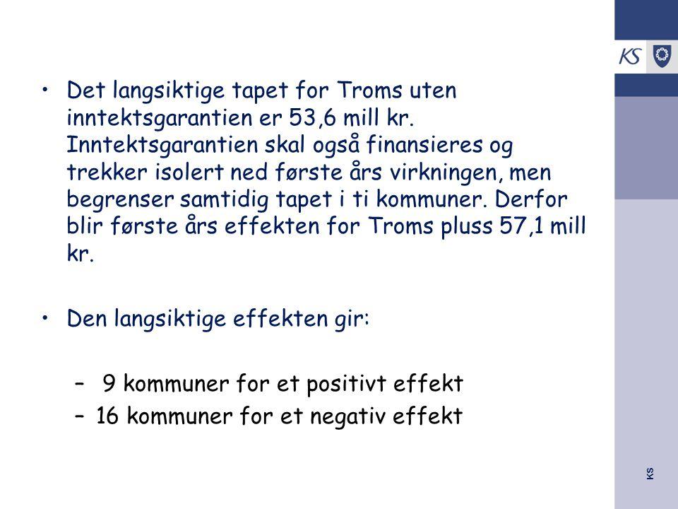Det langsiktige tapet for Troms uten inntektsgarantien er 53,6 mill kr