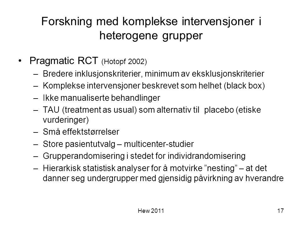 Forskning med komplekse intervensjoner i heterogene grupper