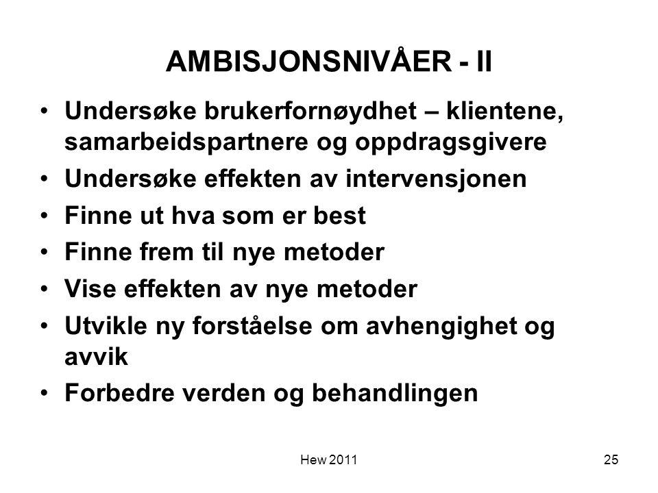 AMBISJONSNIVÅER - II Undersøke brukerfornøydhet – klientene, samarbeidspartnere og oppdragsgivere. Undersøke effekten av intervensjonen.