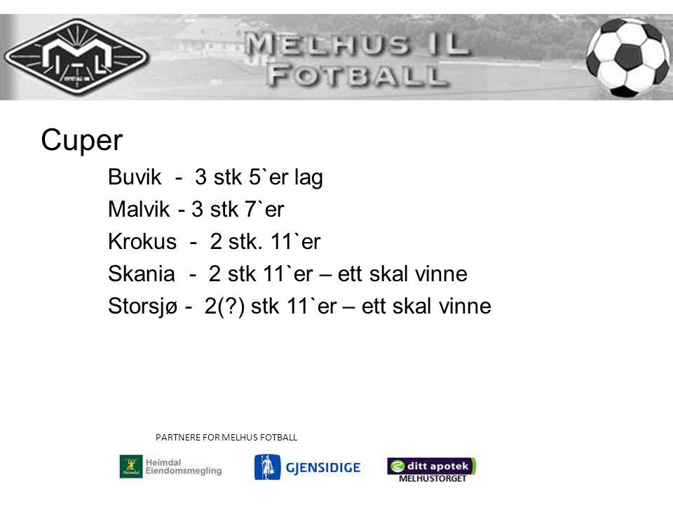Cuper Buvik - 3 stk 5`er lag Malvik - 3 stk 7`er Krokus - 2 stk. 11`er