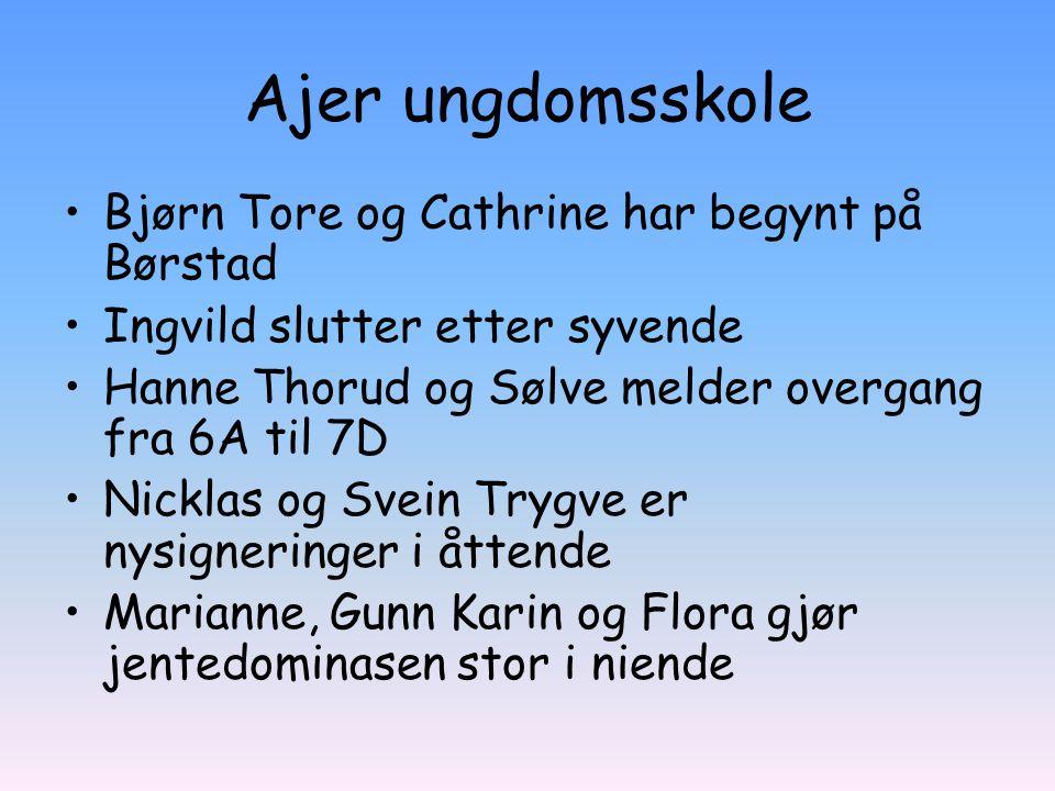 Ajer ungdomsskole Bjørn Tore og Cathrine har begynt på Børstad