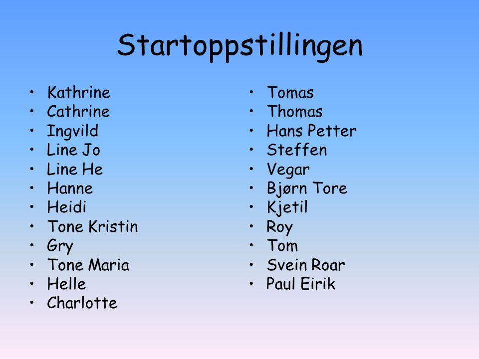 Startoppstillingen Kathrine Cathrine Ingvild Line Jo Line He Hanne
