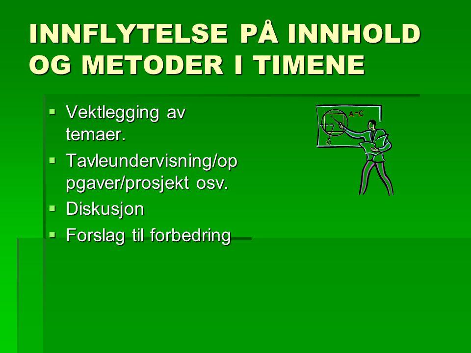 INNFLYTELSE PÅ INNHOLD OG METODER I TIMENE