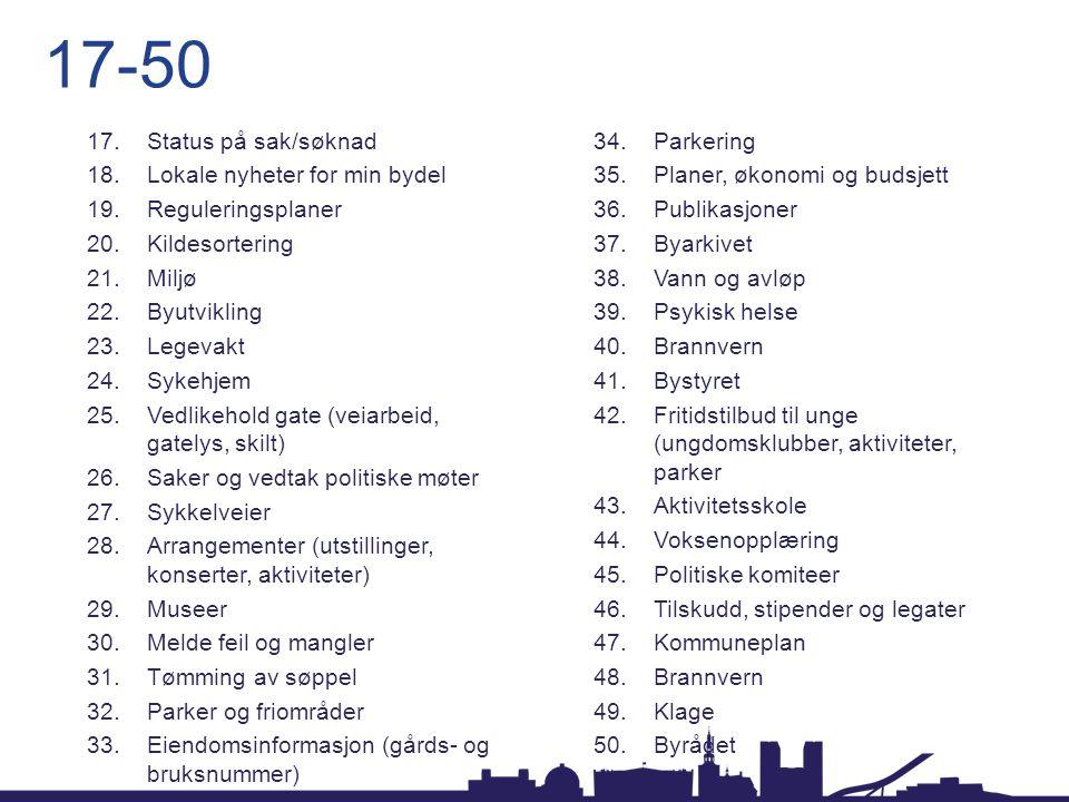 17-50 Status på sak/søknad Parkering Lokale nyheter for min bydel