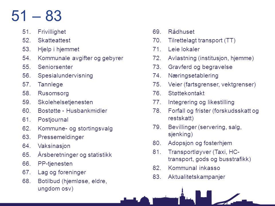 51 – 83 Frivillighet Rådhuset Skatteattest Tilrettelagt transport (TT)