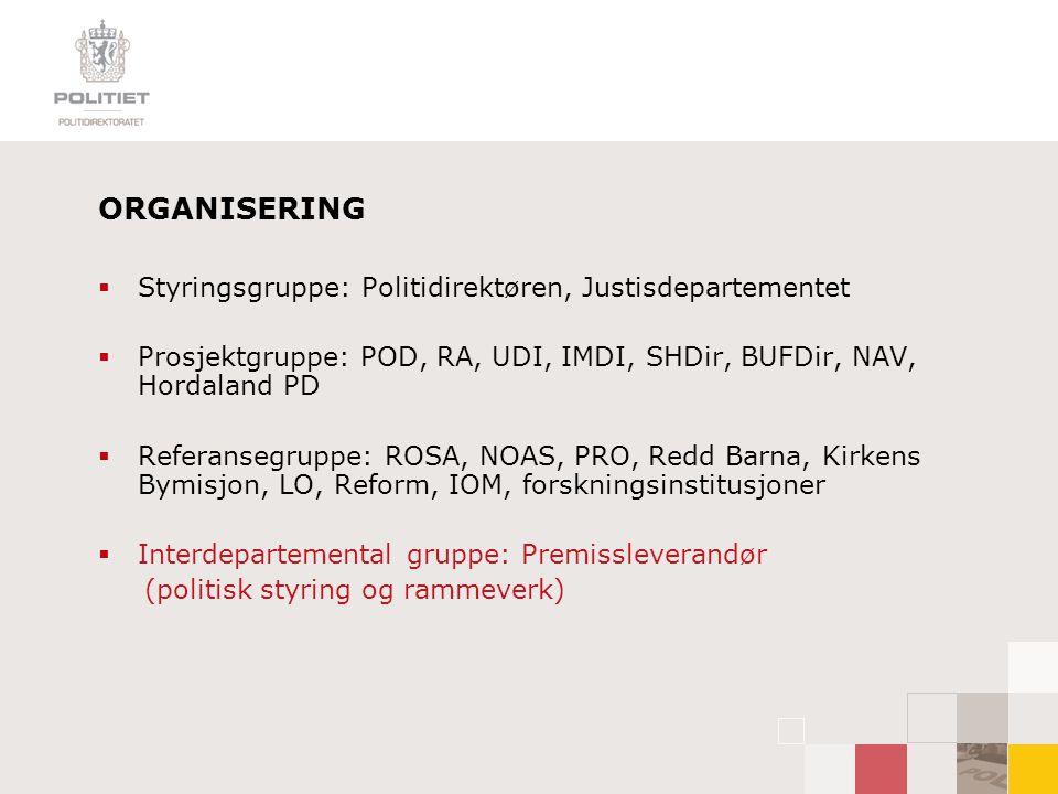 ORGANISERING Styringsgruppe: Politidirektøren, Justisdepartementet