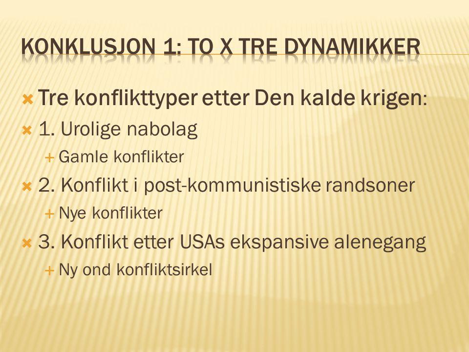 Konklusjon 1: to x Tre dynamikker