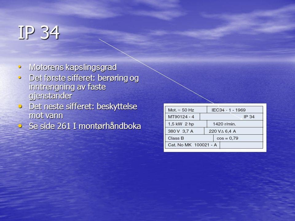 IP 34 Motorens kapslingsgrad