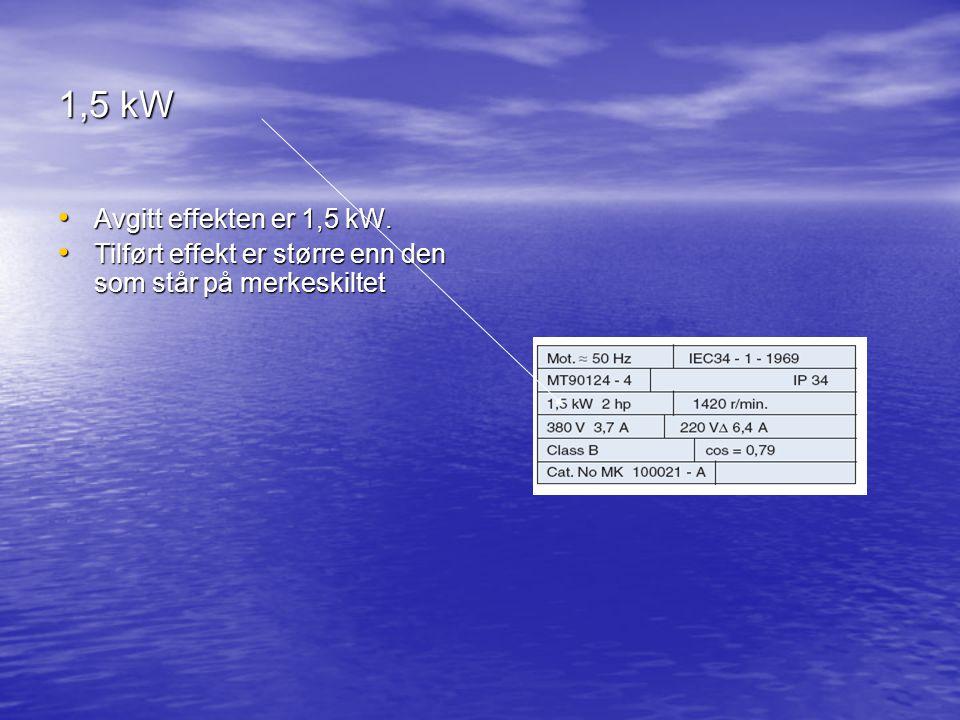 1,5 kW Avgitt effekten er 1,5 kW.