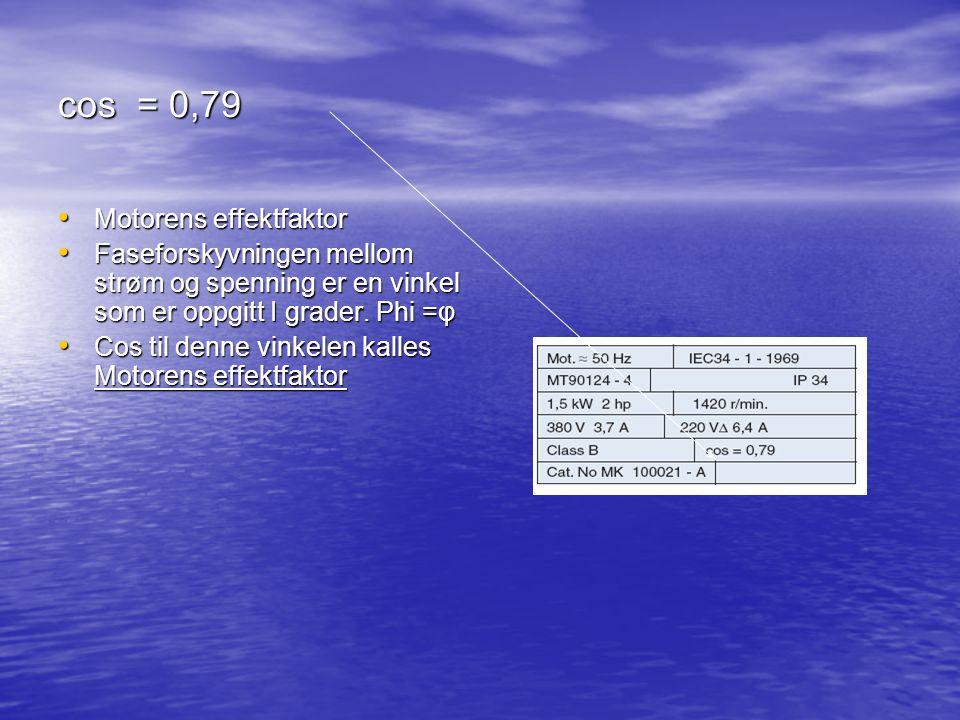 cos = 0,79 Motorens effektfaktor
