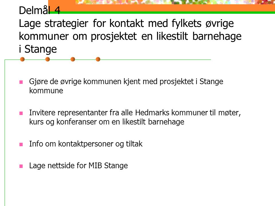 Delmål 4 Lage strategier for kontakt med fylkets øvrige kommuner om prosjektet en likestilt barnehage i Stange