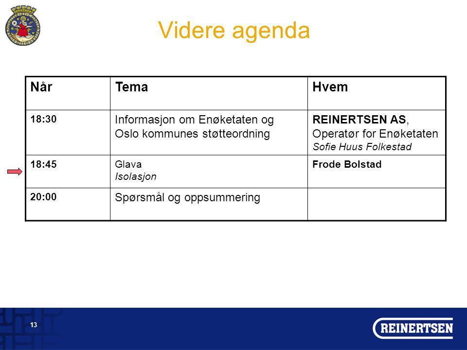 Videre agenda Når Tema Hvem Informasjon om Enøketaten og