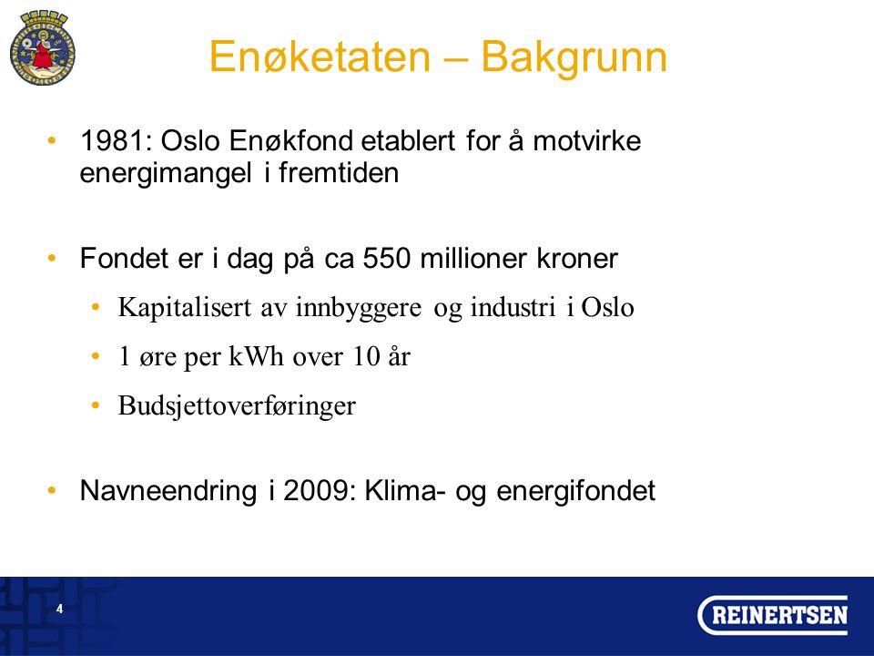 Enøketaten – Bakgrunn 1981: Oslo Enøkfond etablert for å motvirke energimangel i fremtiden. Fondet er i dag på ca 550 millioner kroner.