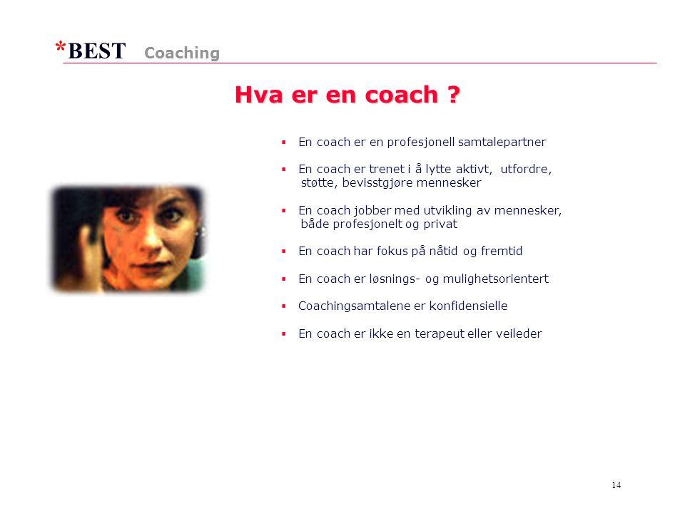 Hva er en coach Coaching En coach er en profesjonell samtalepartner