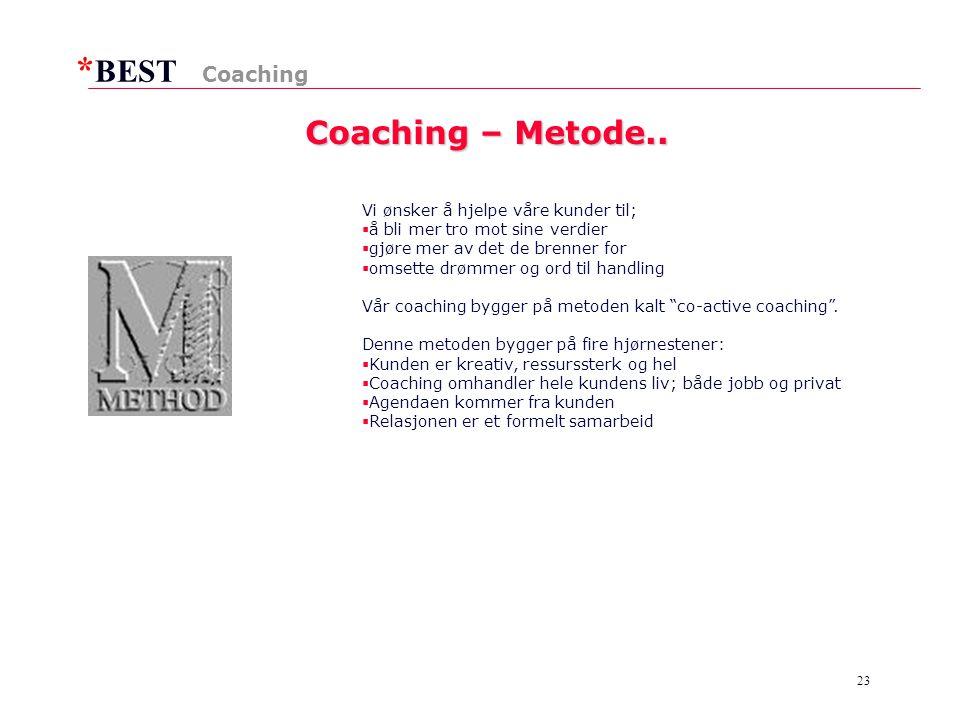 Coaching – Metode.. Coaching Vi ønsker å hjelpe våre kunder til;