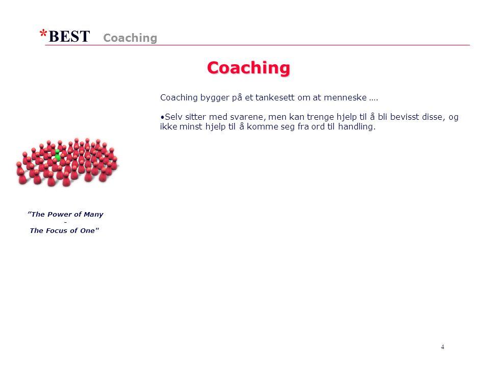 Coaching Coaching Coaching bygger på et tankesett om at menneske ….