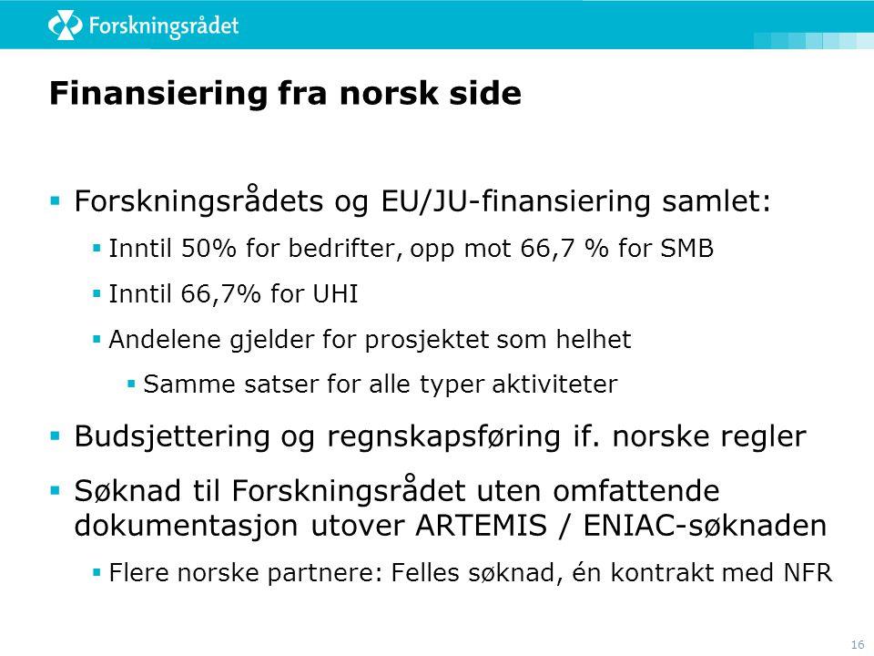 Finansiering fra norsk side
