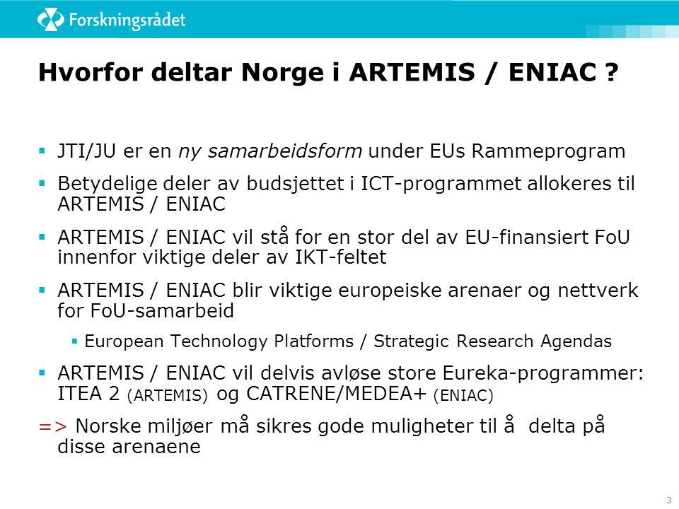 Hvorfor deltar Norge i ARTEMIS / ENIAC