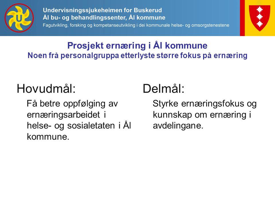 Prosjekt ernæring i Ål kommune Noen frå personalgruppa etterlyste større fokus på ernæring