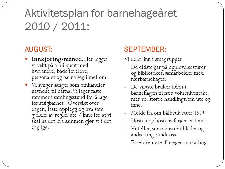 Aktivitetsplan for barnehageåret 2010 / 2011: