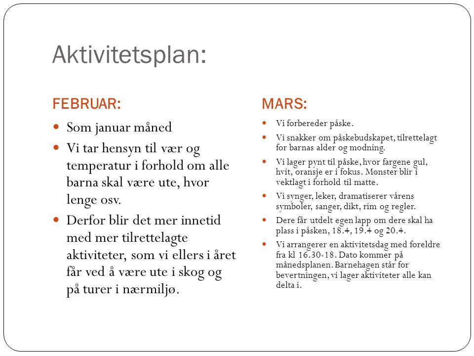 Aktivitetsplan: FEBRUAR: MARS: Som januar måned