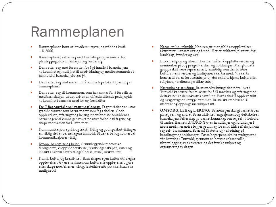 Rammeplanen Rammeplanen kom ut i revidert utgave, og trådde i kraft 1.8.2006.
