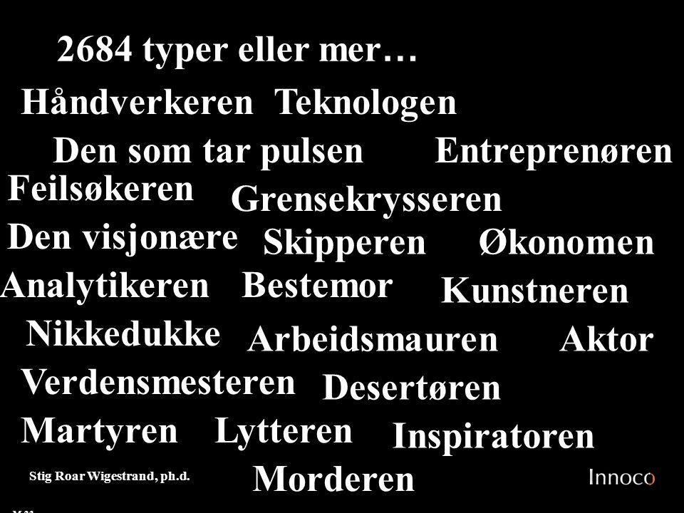 2684 typer eller mer… Håndverkeren Teknologen Den som tar pulsen