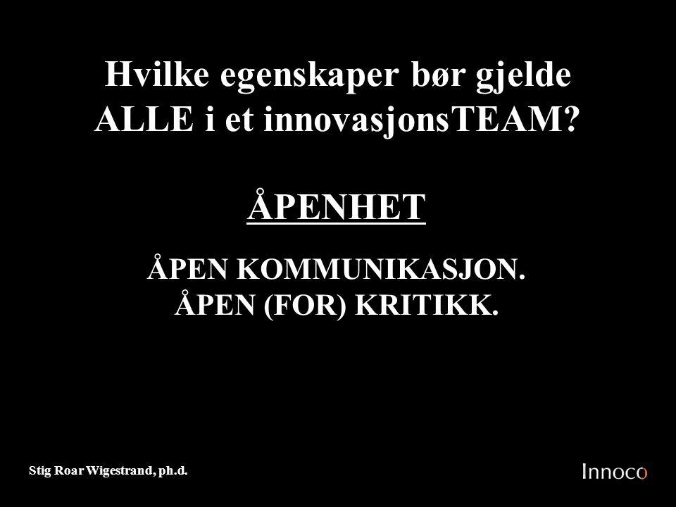 Hvilke egenskaper bør gjelde ALLE i et innovasjonsTEAM