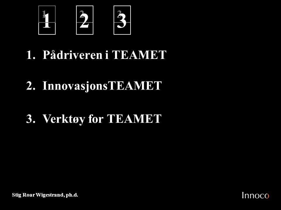 1 2 3 1. Pådriveren i TEAMET InnovasjonsTEAMET Verktøy for TEAMET 1 2