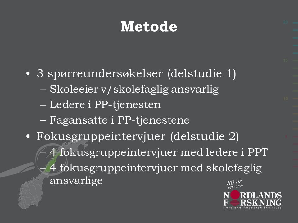 Metode 3 spørreundersøkelser (delstudie 1)