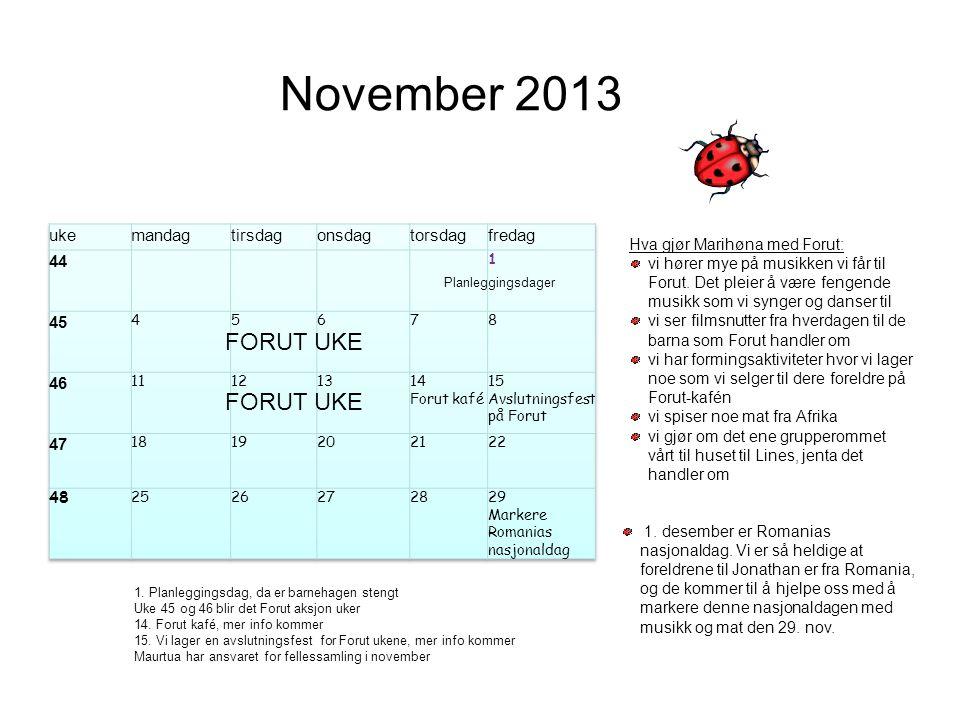November 2013 FORUT UKE FORUT UKE uke mandag tirsdag onsdag torsdag